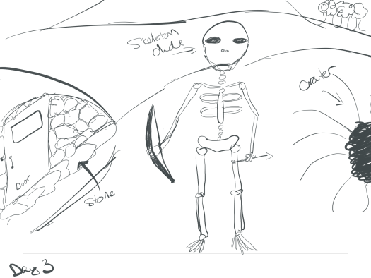 Sketch of the skeleton outside my cave