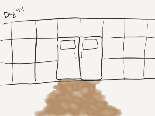 Sketch of a wall made of roughly 1 meter high blocks, with a set of double doors in the middle. Black and white except for some brown watercolors indicating the wide path of mud leaking under the door.