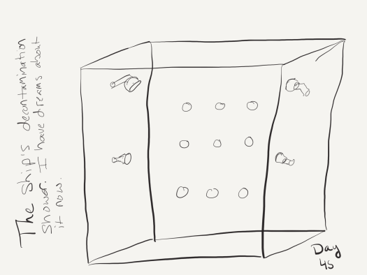 """Black and white sketch of a shower stall roughly the size of a standard American bathtub, with shower heads on all the walls as described in the post. Labelled """"The ship's decontamination shower. I have dreams about it now."""""""