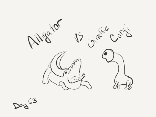 "Black and white line drawing, bad one, of an alligator with its mouth wide open and a giraffe corgi bent toward the gator menacingly. Labeled ""Alligator vs Giraffe Corgi"""