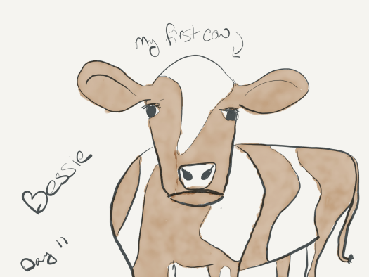 My first cow, Bessie, a sketch