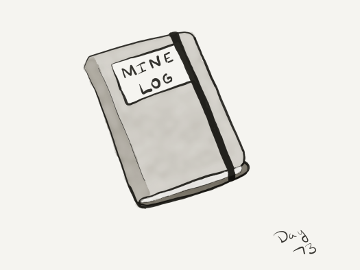 "Line and watercolor of a notebook similar to a large Moleskine or other hardbound log, labeled ""Mine log"" on the cover, with a black band around it to keep it closed."