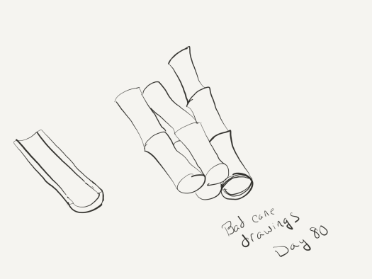 line sketch of cane. First piece is a half segment with the center taken out. Outer four pieces are whole, multi-segment pieces. That's it. This one's pretty boring.