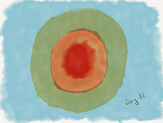Watercolor of a blue background with a red, orange, and yellow sun superimposed on it, taking up the vast majority of the image. Instead of looking dramatically hot, it looks like a bad target.