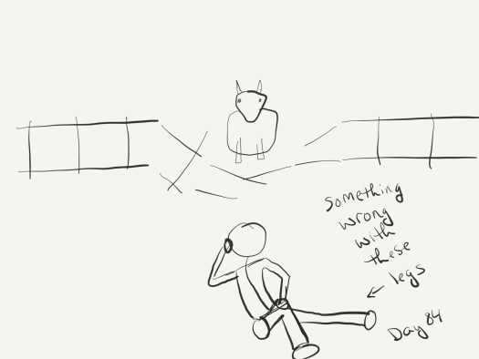 Line sketch of a fence, collapsed in the middle, with a cow looking out of it. Below, a human, leaning her head on her right hand and trying to put her left hand on her right knee. But in the image, the legs are so badly drawn they look broken or displaced or something.