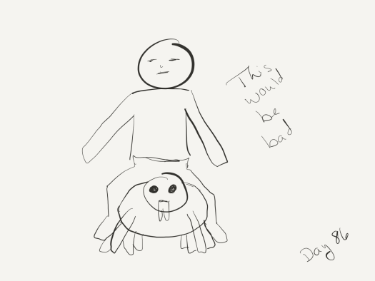 """Line drawing of a zombie riding a spider like an adult riding a miniature pony. Captioned """"this would be bad""""."""