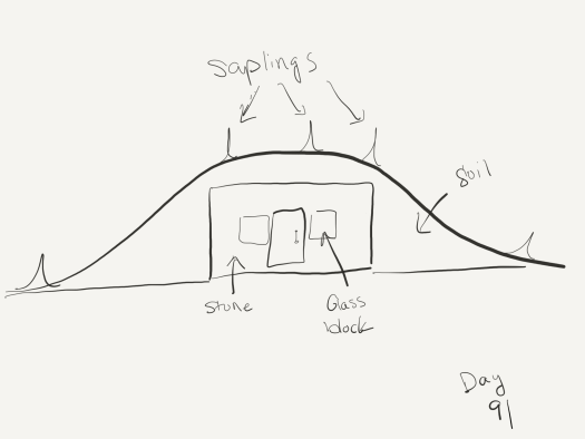 Line sketch of the sides of the entrance with dirt mounded around them and above them making the entrance look like dirt. Saplings are planted on the roof.