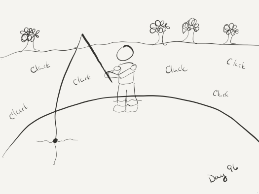 Line sketch of the author fishing while the ground around her clucks.