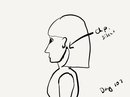 line sketch of the profile of a woman with a chip implanted just behind her earlobe on the left side of her head.