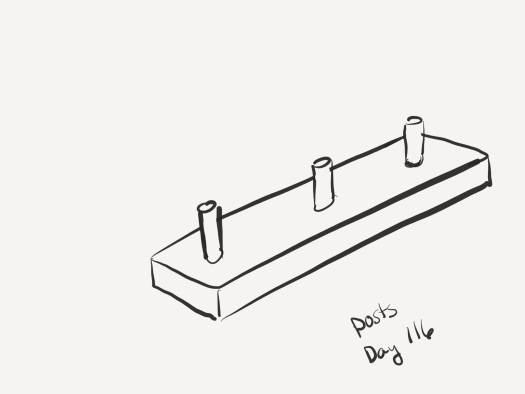 line sketch of a pegboard - a flat board with wooden dowels sticking out of it at regular intervals, meant to be hung on the wall to hang skins from.