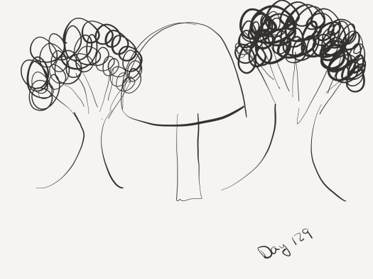 Line sketch of two trees with a round-topped mushroom of the same height between them.