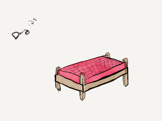 Watercolor of a wood bed just big enough for a human, with a red chicken leather mattress. The seams between the many chicken skins can be seen.