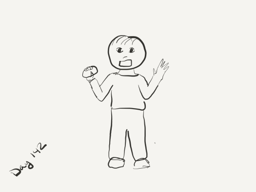 bad sketch of a child zombie with both arms in the air, wielding a potato as a weapon