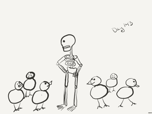 Line sketch of a zombie with its hands on its hips standing in the middle of six duckens as if wondering how it got into this mess.
