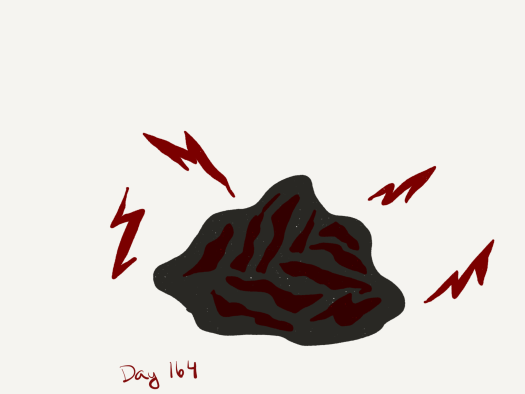 A black and red rock with red lightning bolts shooting out of it.