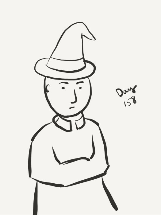Line drawing of a bald dude wearing what looks like a witch's hat. His arms are tucked into his sleeves.