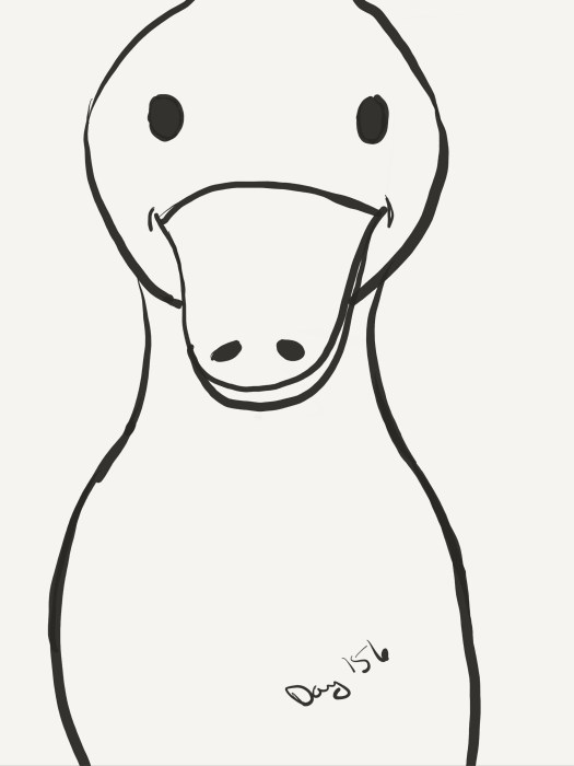Line drawing of a ducken, up close.