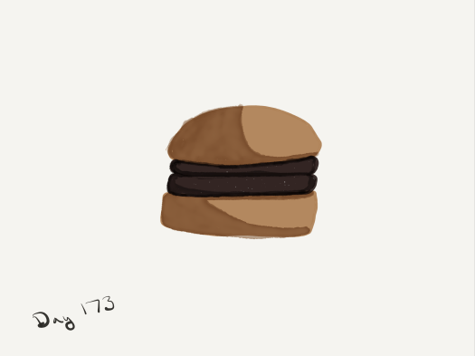Watercolor of a two-patty mutton burger.