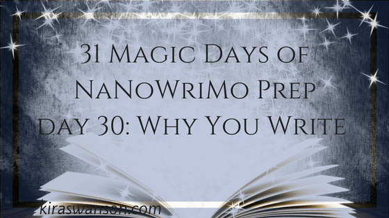 Day 30: 31 Magic Days of NaNoWriMo Prep