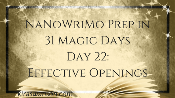 Day 22: 31 Days of NaNoWriMo Preparation