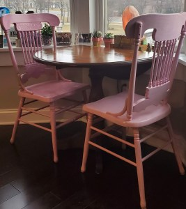 My new reality is pink kitchen chairs. What's yours?