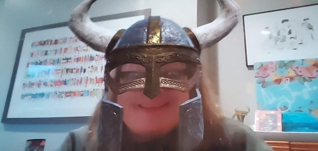 image of #tiaboss in a virtual viking helmet during the Google hangouts meeting with the team last week.