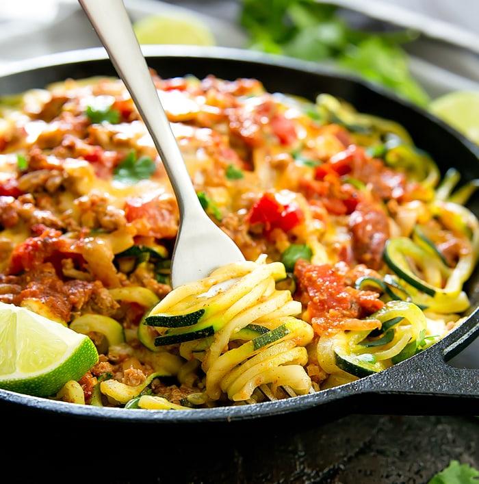 One Pot Taco Zucchini Noodles Kirbie S Cravings