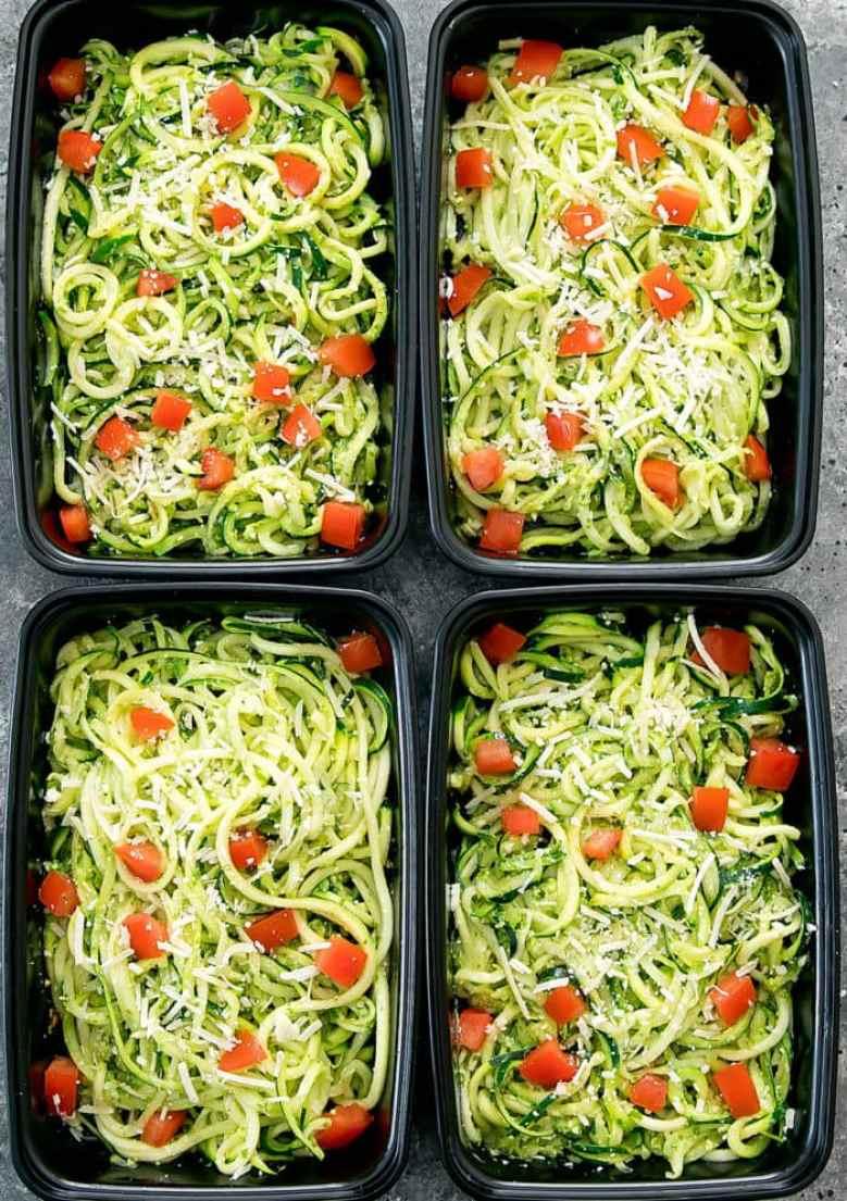 overhead photo of Pesto Zucchini Noodles