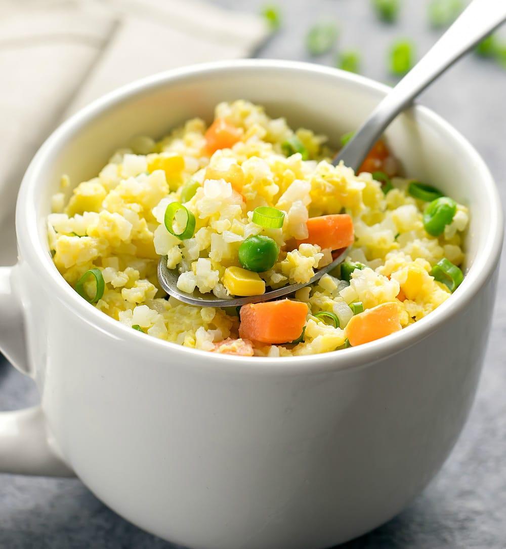 microwave cauliflower fried rice