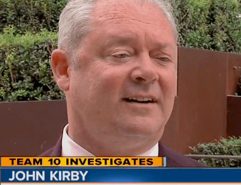 John D. Kirby talks to Channel 10 about Macaluso