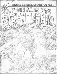 1976 - Captain America Bicentennial Battles cover pencil art photocopy
