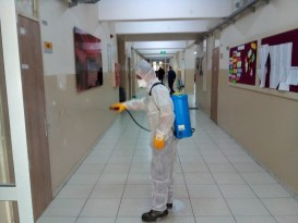 Kırıkkale'de okullarda dezenfekte çalışması