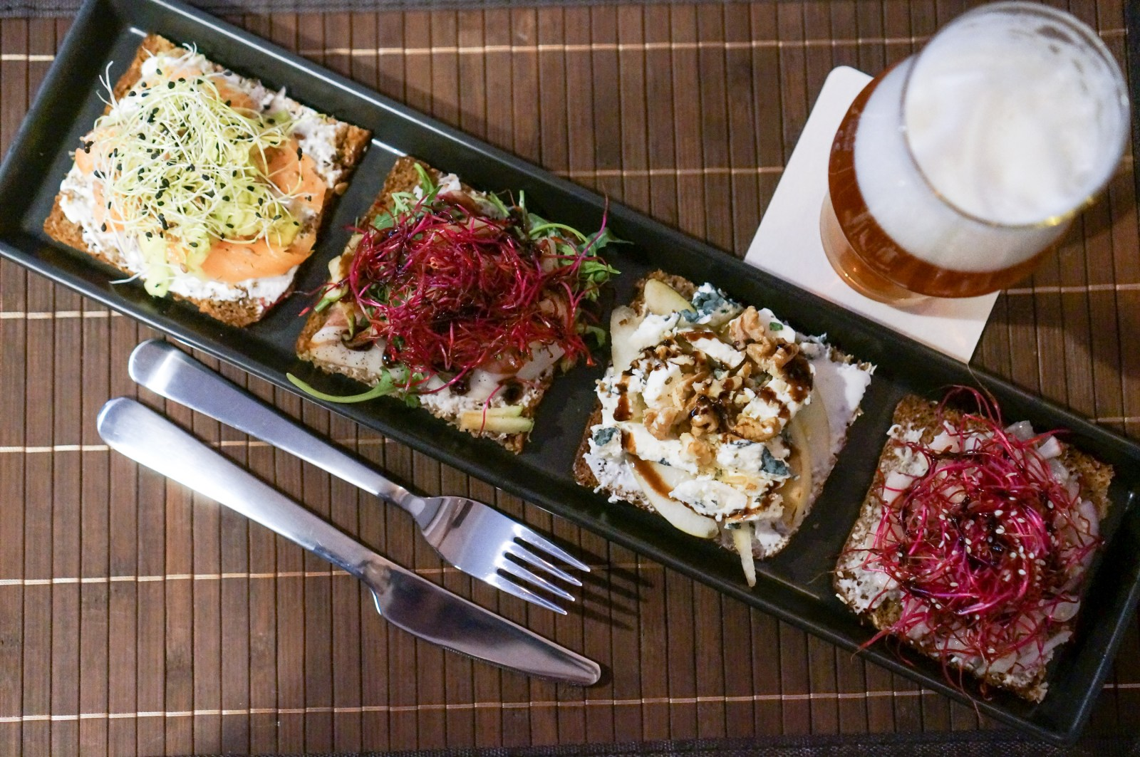Smørrebrød set in Craft House Prague