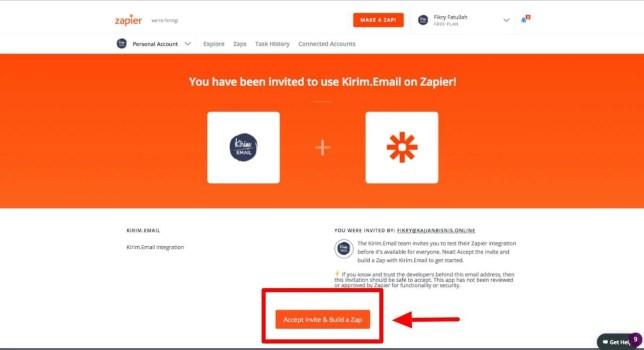 Klik Accept Invite & Build A Zap