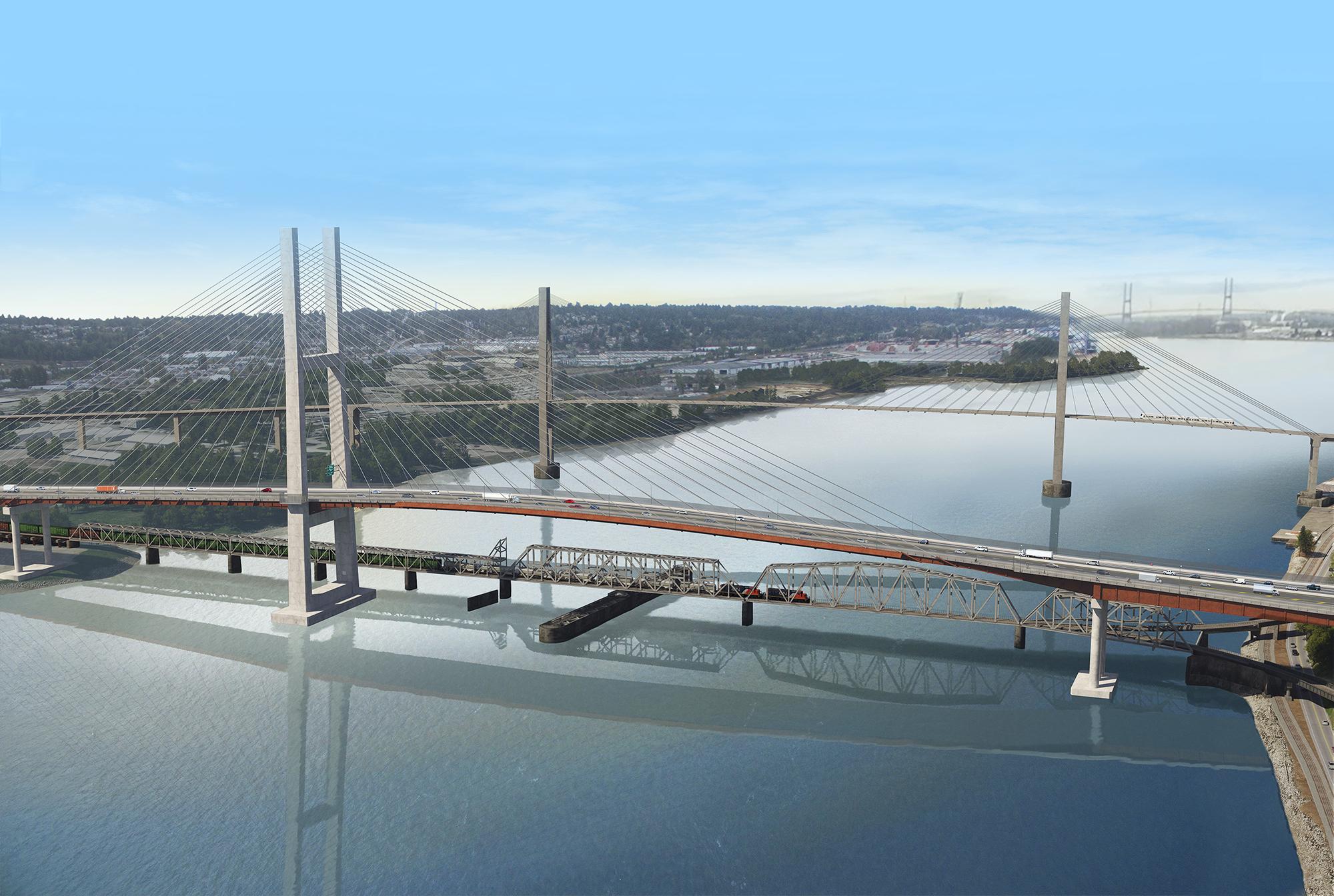 Pattullo Bridge Aerial Rendering