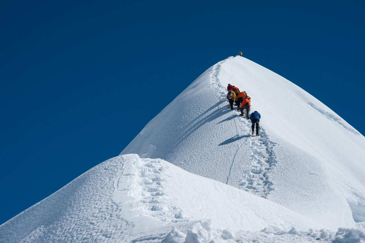 small group peakclimbing on the Nepalese side of Mount Everest
