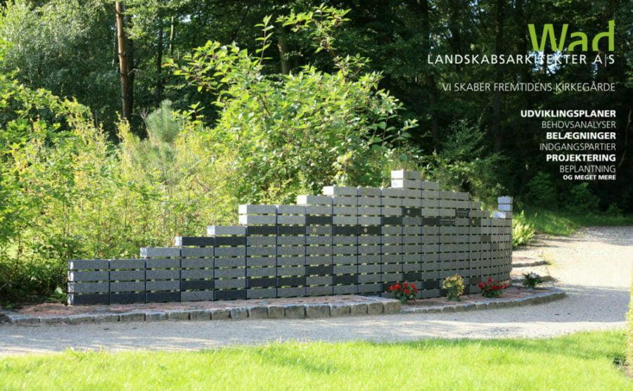 Stor mindemur. Silkeborg kirkegård. Wad landskabsarkitekter.
