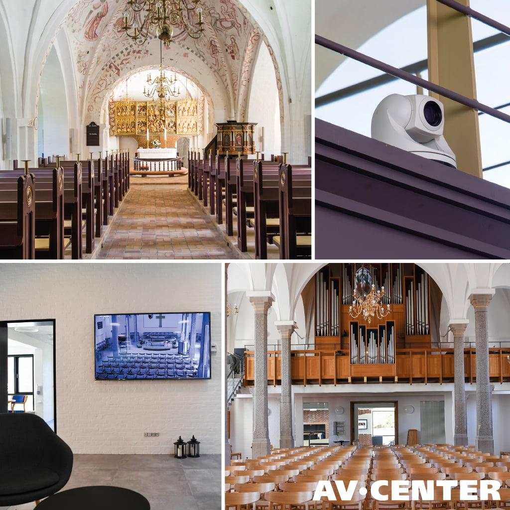 streaming i kirke. billed collage.