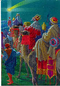 De hellige tre konger kommer med gaver til Jesus barnet