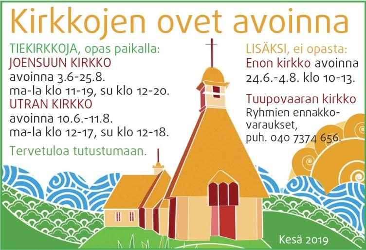 Tiekirkkojen aukioloajat Joensuun seurakunnissa