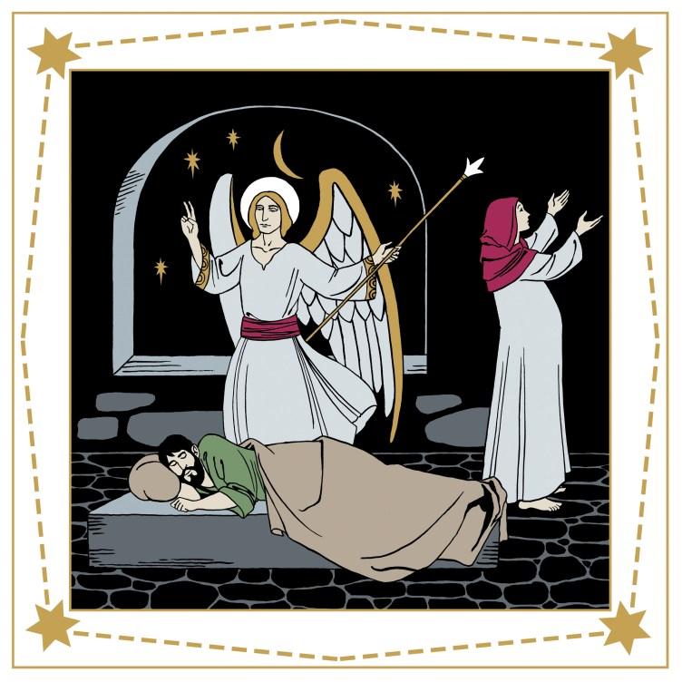 Enkeli suojelee nukkuvaa Joosefia ja raskaana oleva Maria ylistää Jumalaa.