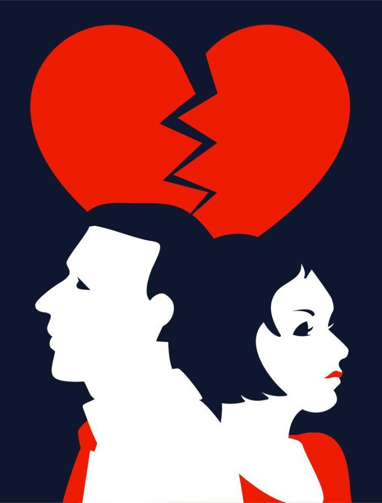 Piirroskuvassa pariskunta selät vastakkain, päiden takana särkyvä sydän.