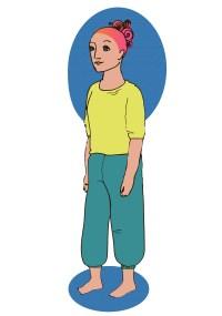Piirroskuvassa nainen seisoo suorassa kädet rentoina sivuillaan, paino molemmilla jaloillaan ja katsoo rauhallisesti eteenpäin.