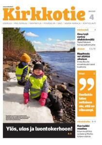 Kirkkotien 4/2021 kansi kuvana. Kannen kuvassa kaksi lasta istuu huomioliiveissä Utran saaren rannassa.