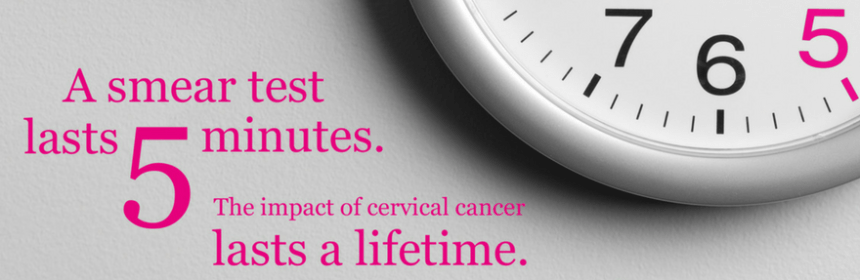 "Cropped image from jo's trust poster campaign ""A smear test lasts 5 minutes the impact of cervical cancer lasts a lifetime"