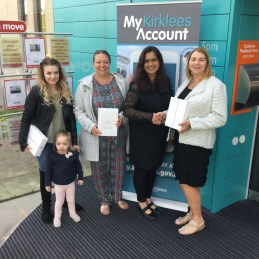 Left to right: Bethany Wild and daughter Ava, Sarah Newburn, Cllr Musarrat Khan and Ruth Bailey