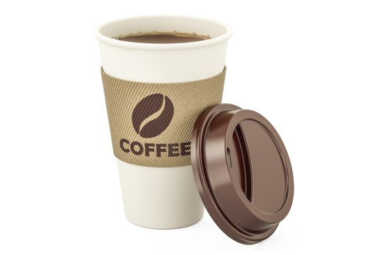 Disposable cup of coffee