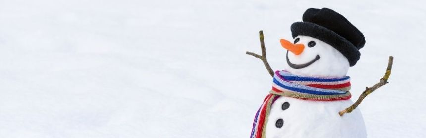Snowman with hat and scarf on.