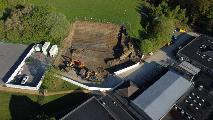Birds eye view of king James school with diggers excavating the grounds