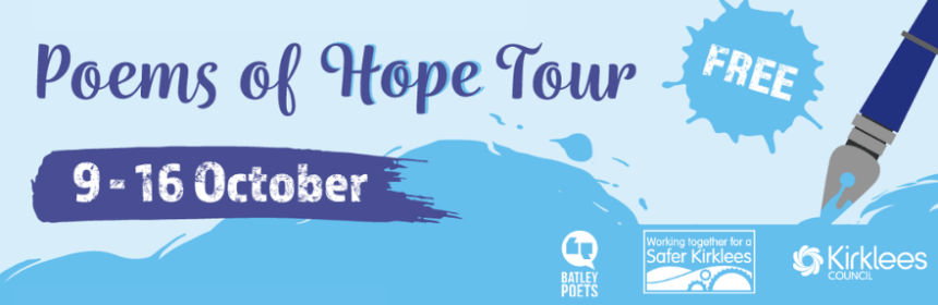 Campaign graphics for Poems of Hope Tour 9-16 October